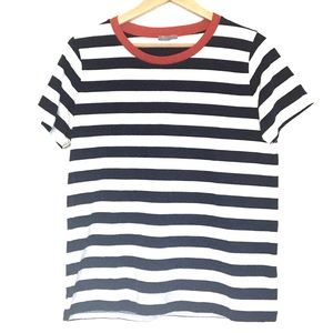 COS striped T-shirt with red crew neck collar